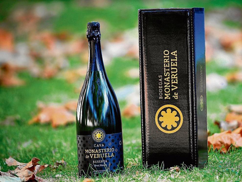 Presentación de la botella del nuevo cava Monasterio de Veruela Reserva Brut Nature.