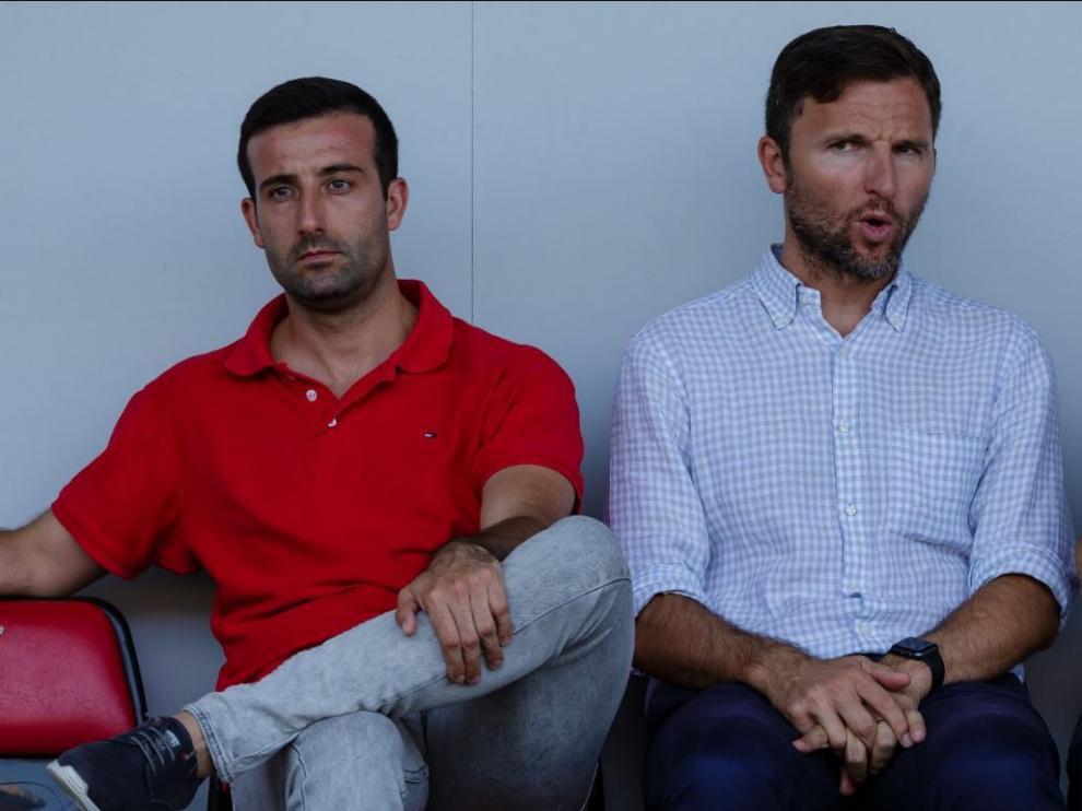 José Mari Barba y Lalo Arantegui, actuales responsables del área deportiva del Real Zaragoza y, con anterioridad, de la SD Huesca.