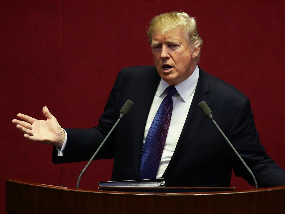 El presidente de Estados Unidos, Donald Trump, durante su intervención ante el Parlamento surcoreano.