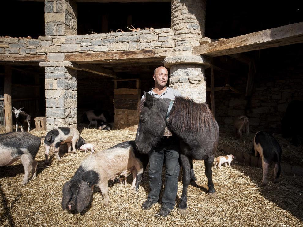 Xavi Pujol conduce a uno de sus burros a la orilla del río.
