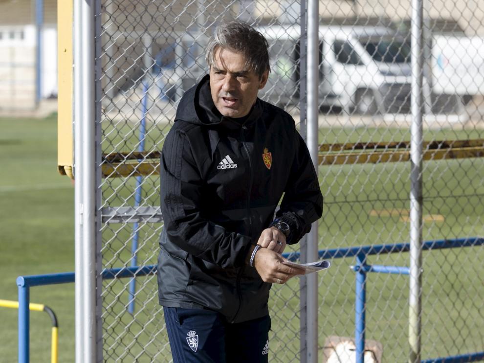 Natxo González, en un entrenamiento de esta semana en la Ciudad Deportiva.