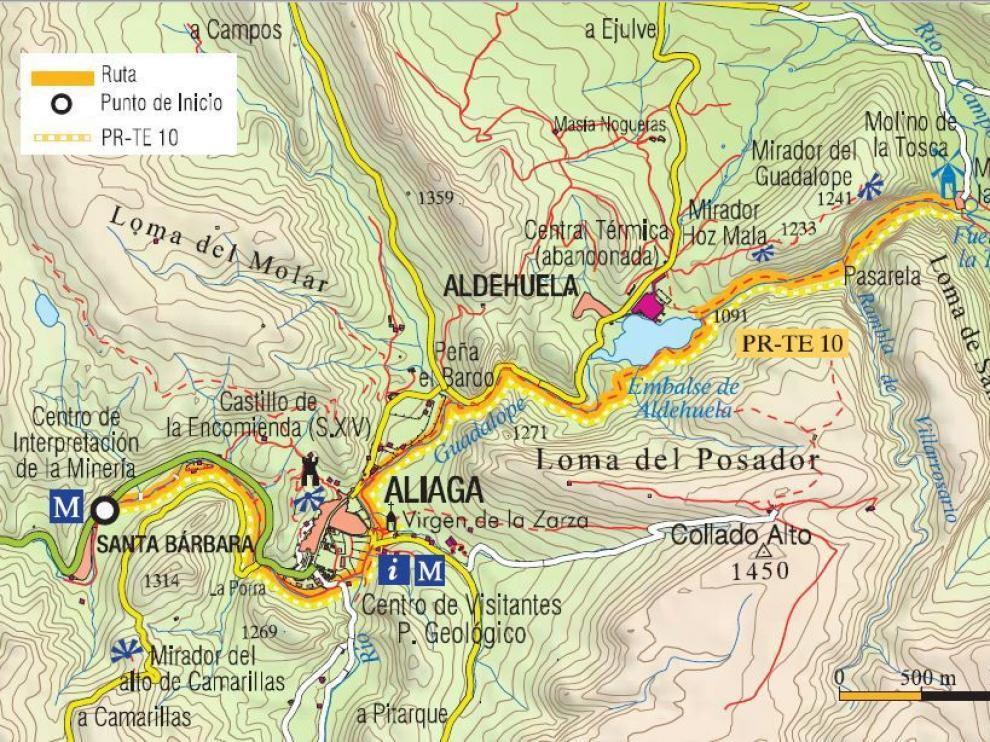 Mapa de la senda fluvial de Aliaga.