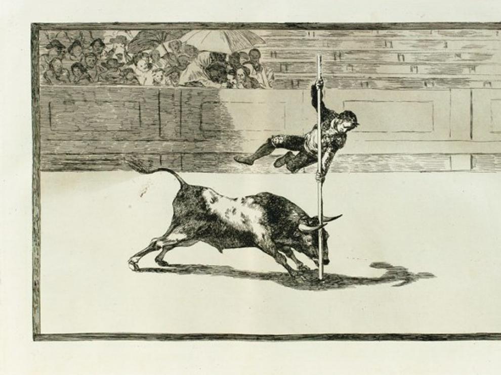 Salto de la garrocha plasmado en las tauromaquias de Goya.