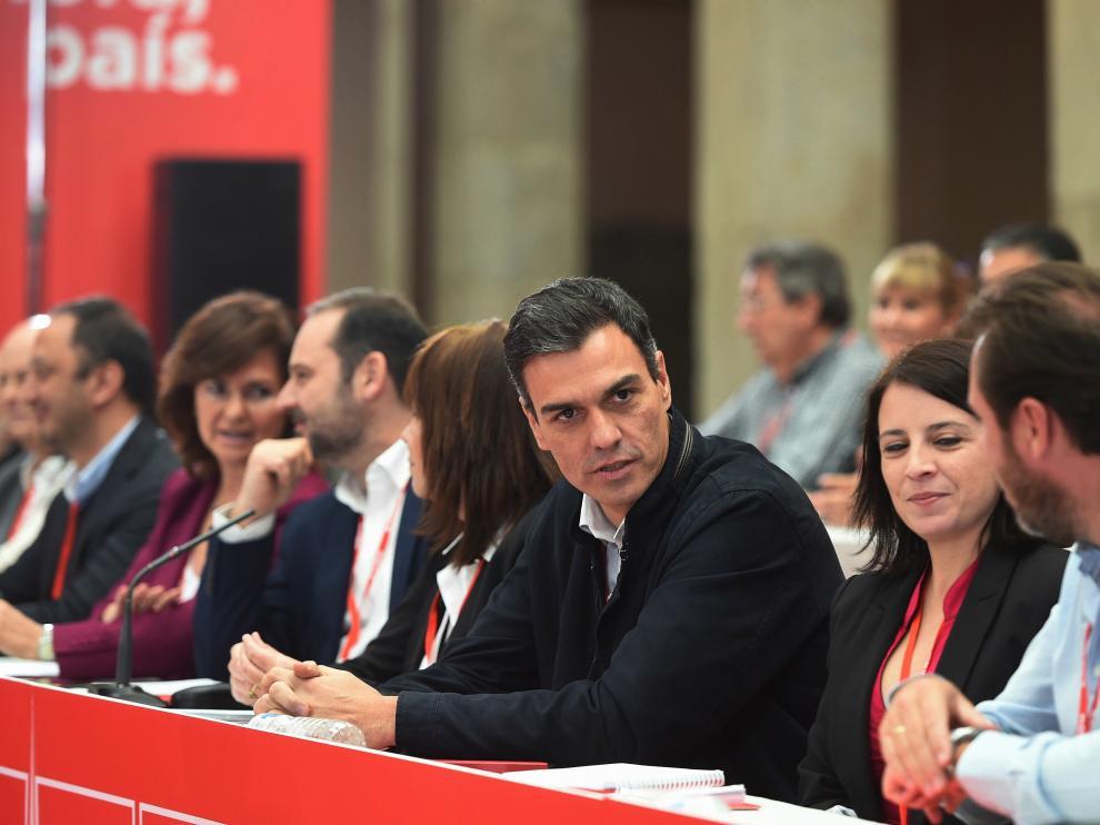 Pedro Sánchez este sábado en el Consejo Federal del PSOE.