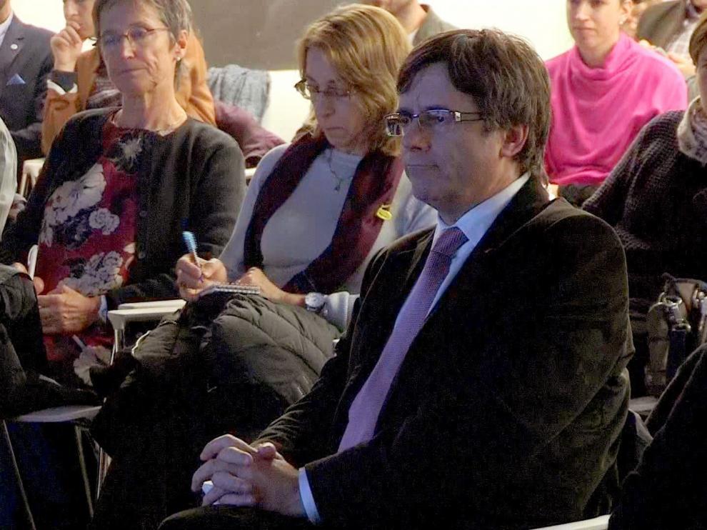 Puipgdemont durante un acto en Bruselas.