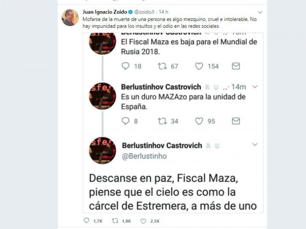 """Zoido, ante los insultos a Maza: """"No hay impunidad para el odio en las redes"""""""
