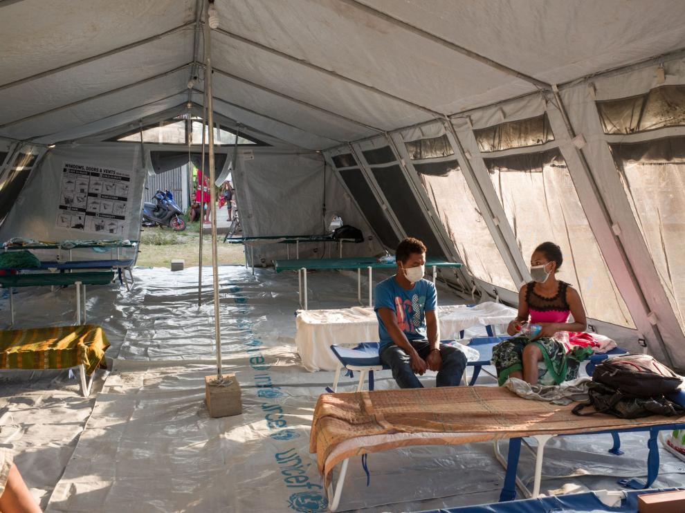 Pacientes afectados por la peste en Toamasina (Madagascar)