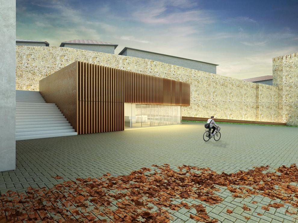 Recreación infográfica de la fachada propuesta para el museo de la batalla de Teruel.