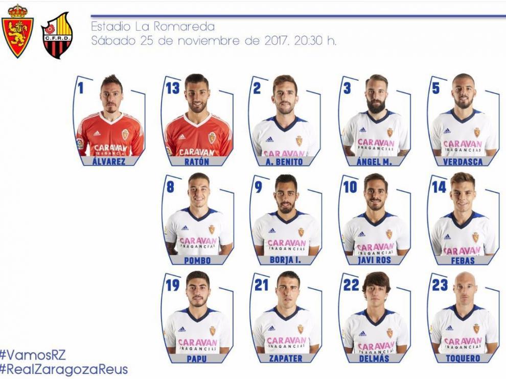 Lista de 19 futbolistas del Real Zaragoza para jugar el partido ante el Reus este sábado en La Romareda.