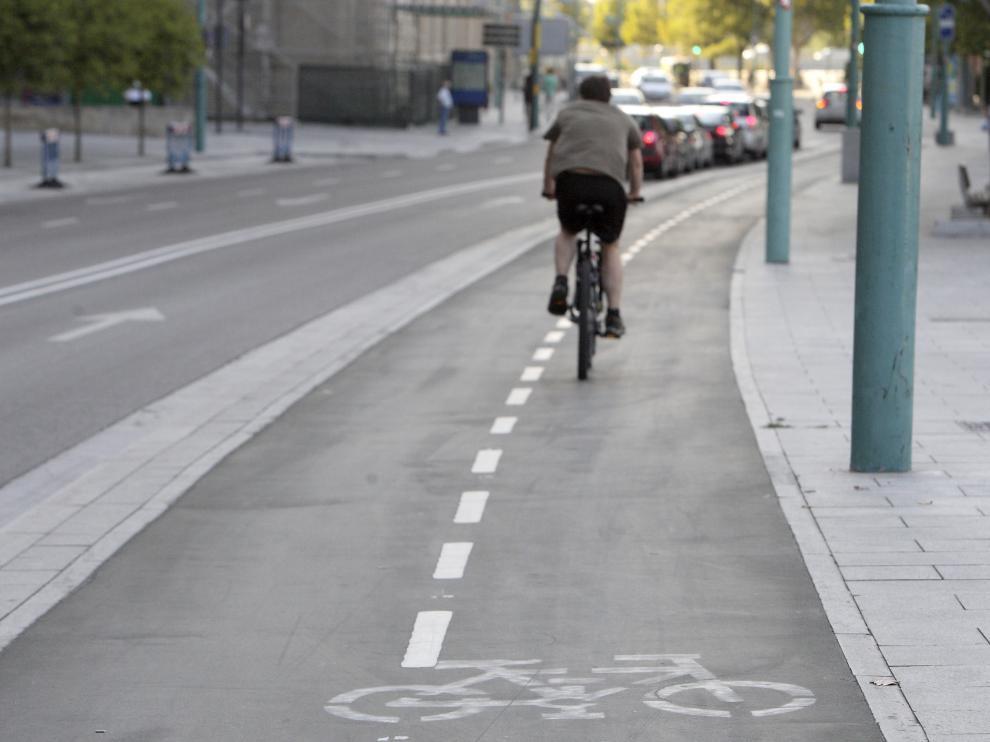 Imagen de un tramo del carril bici del Paseo Echegaray.