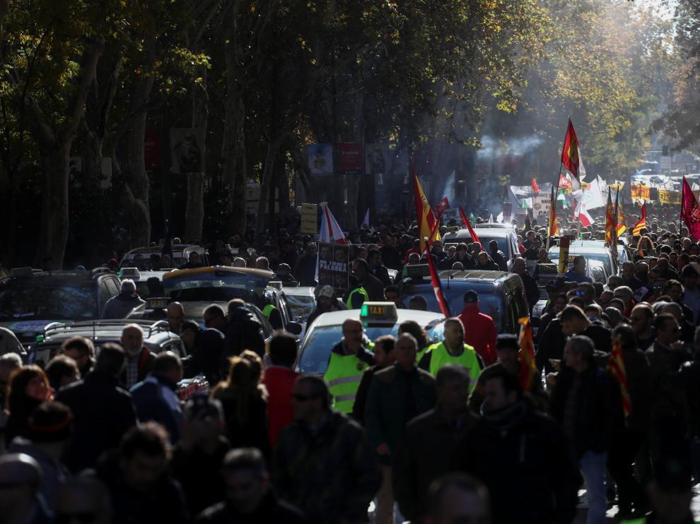 Foto de archivo de una protesta de taxistas en Madrid.