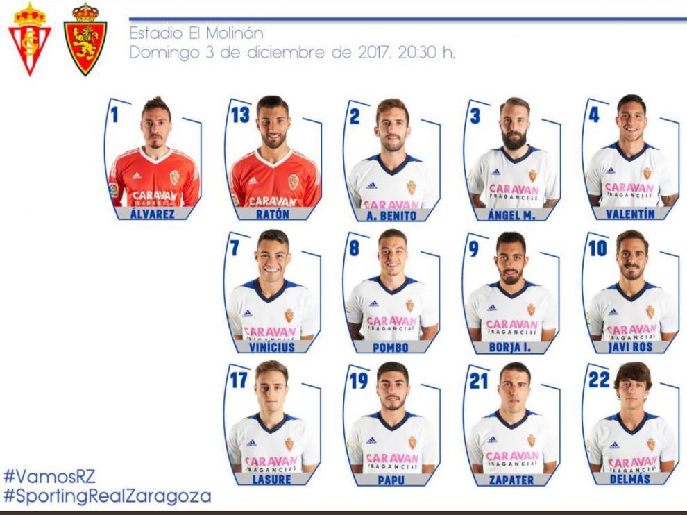 Lista de 19 convocados del Real Zaragoza para el viaje de este sábado a Gijón.