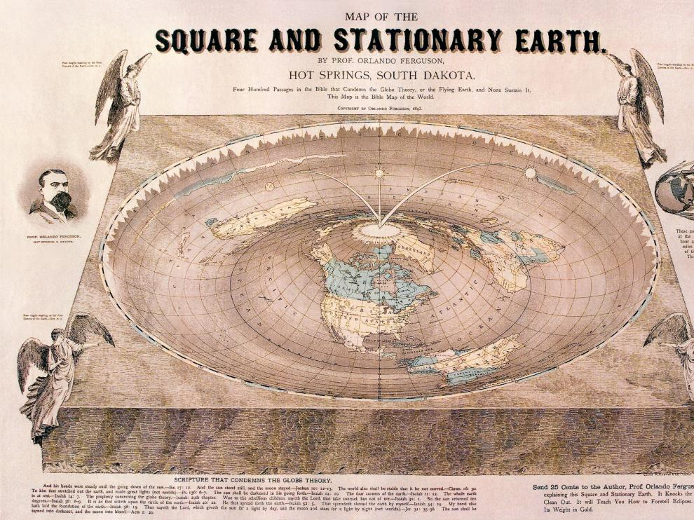 Mapa de la Tierra plana dibujado por el profesor Orlando Fergusson, de la Universidad de Dakota del Sur, en 1893.