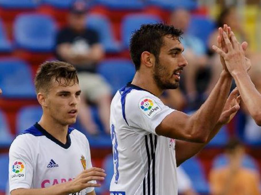 Febas y Borja Iglesias, al inicio de la temporada tras su incorporación al Real Zaragoza.