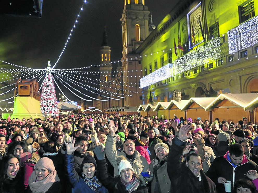 La plaza del Pilar volverá a acoger el cotillón de fin de año que organiza el Ayuntamiento.