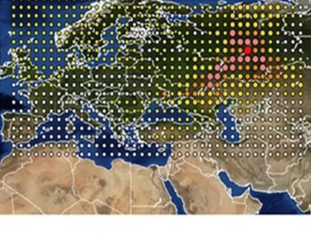 La nube radiactiva que recorrió Europa, según el IRSN.