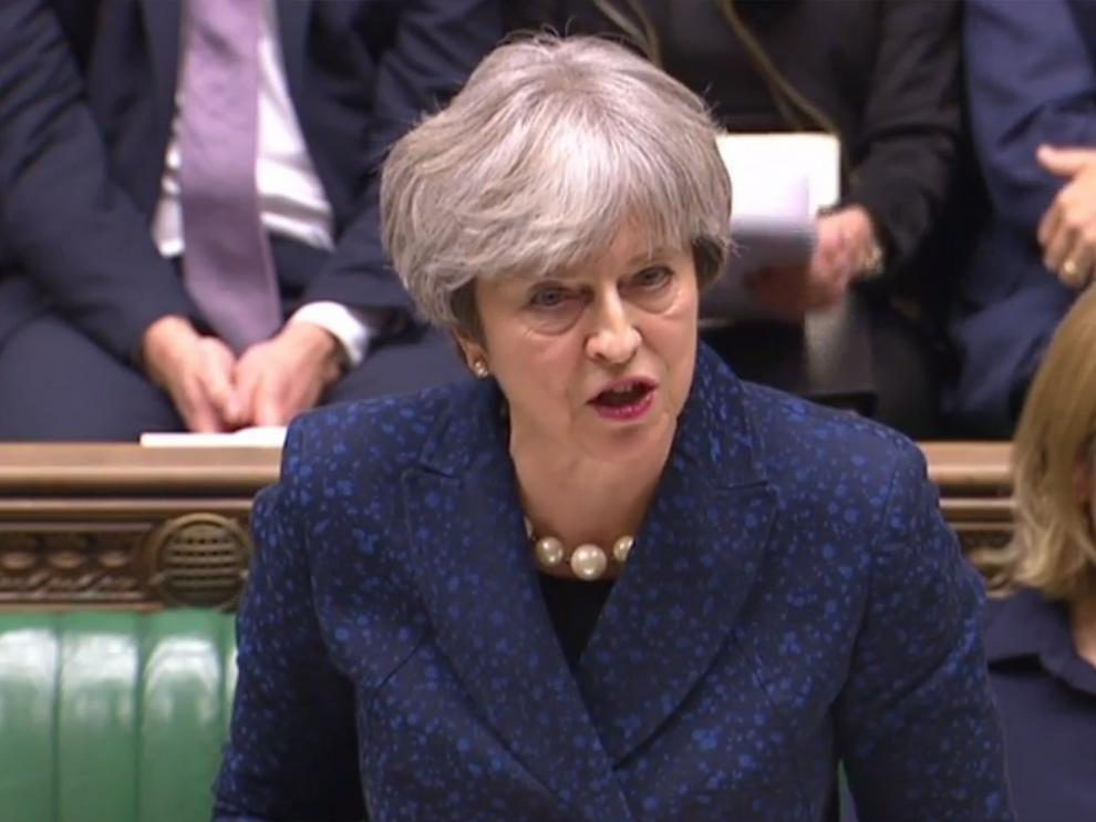 Theresa May durante su intervención en el Parlamento.
