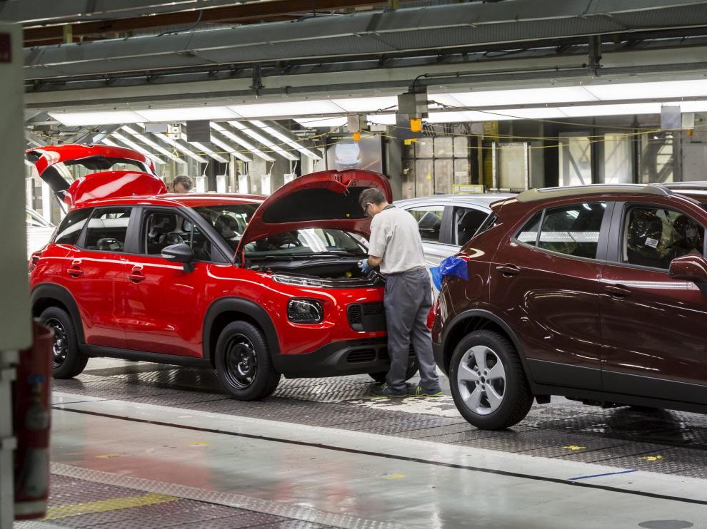 Cadena de montaje de la planta de Opel en Figueruelas.