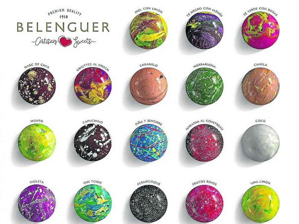 Los 18 sabores de bombones que salen del obrador artesanal de Belenguer, en Alcorisa.