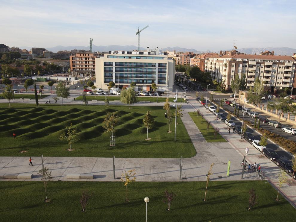 Vista del parque de las olas en Huesca.