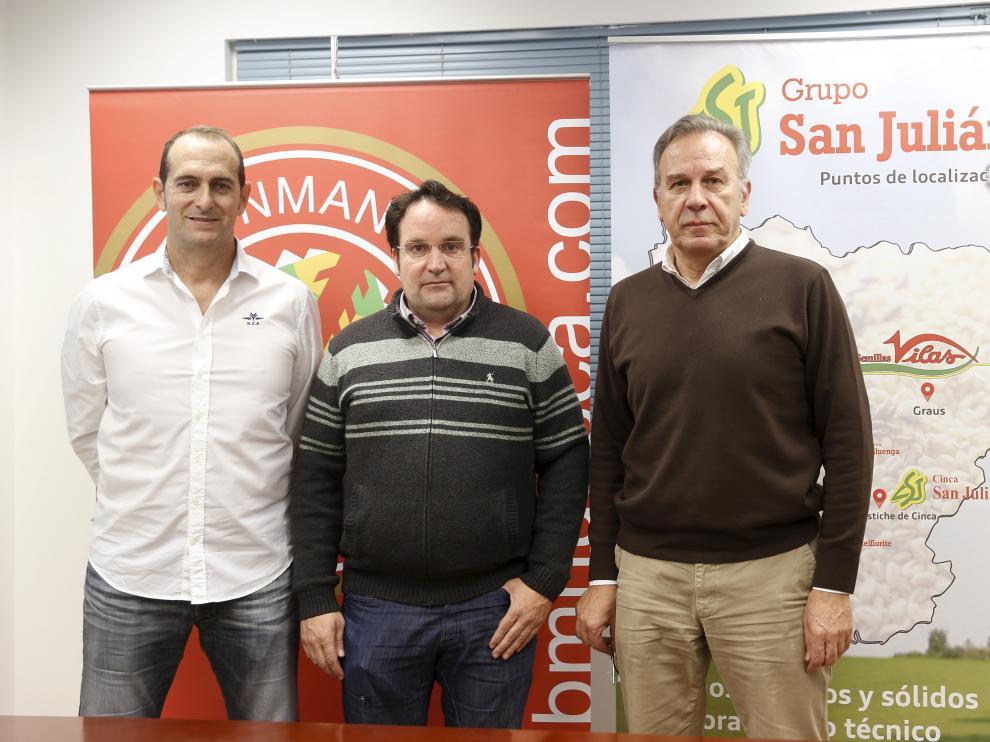 José Francisco Nolasco, David Mancho y José María Udina este jueves en la presentación del partido, que está patrocinado por Semillas Vilas.