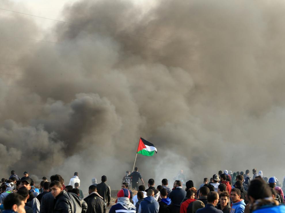Imagen de las protestas al borde de la frontera israelí.