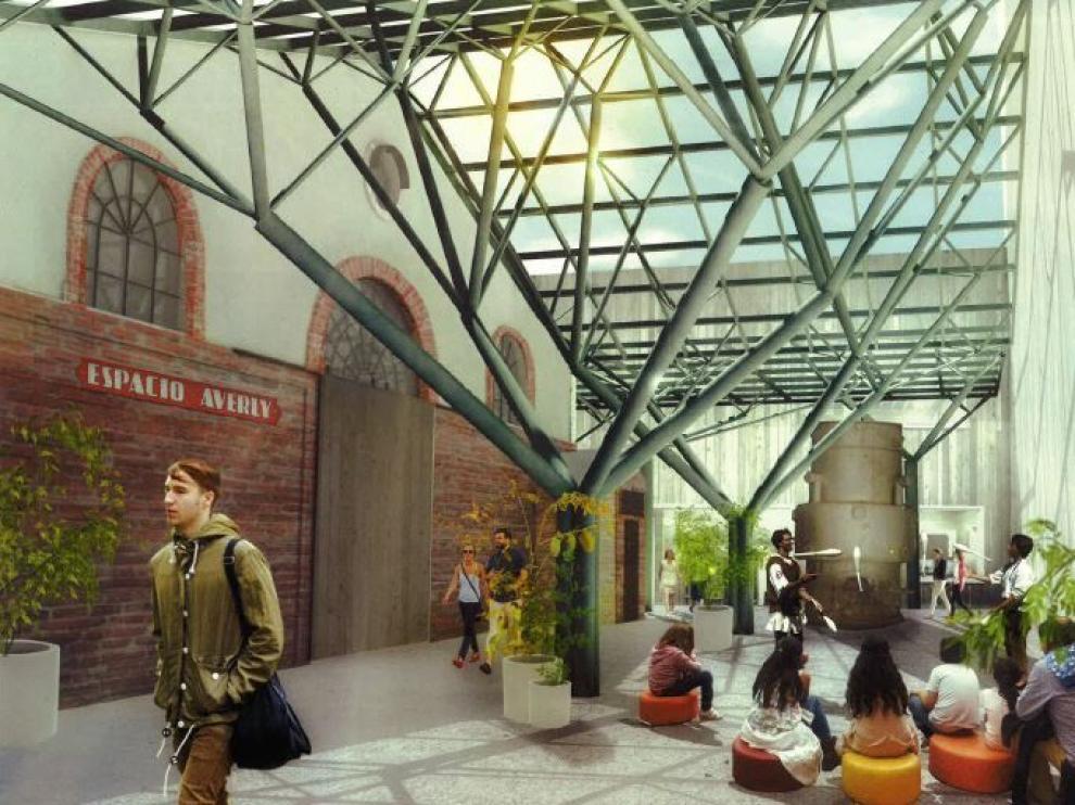 Recreación de la zona más próxima a la entrada principal de Averly, según el plan director.