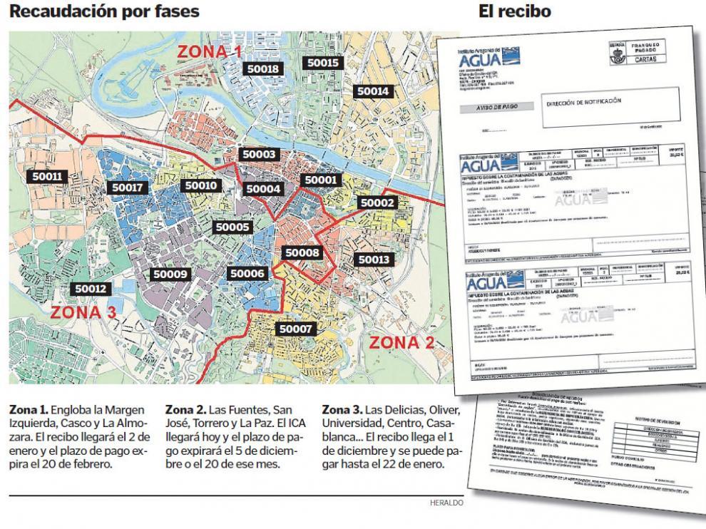 Mapa de cobro del ICA en Zaragoza capital.