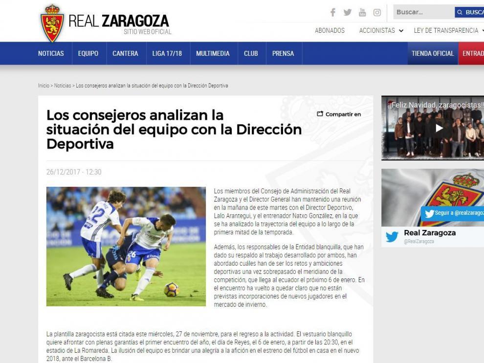 Información publicada por el Real Zaragoza en su página web oficial.
