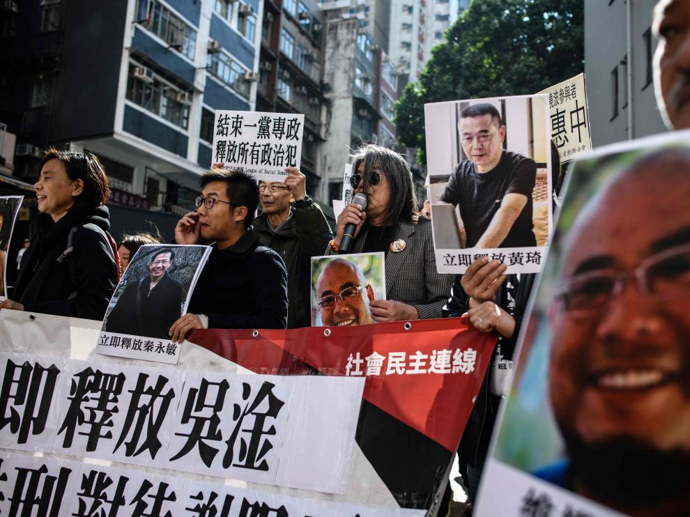 Imagen de una manifestación en favor de los encarcelados celebrada en Hong Kong.