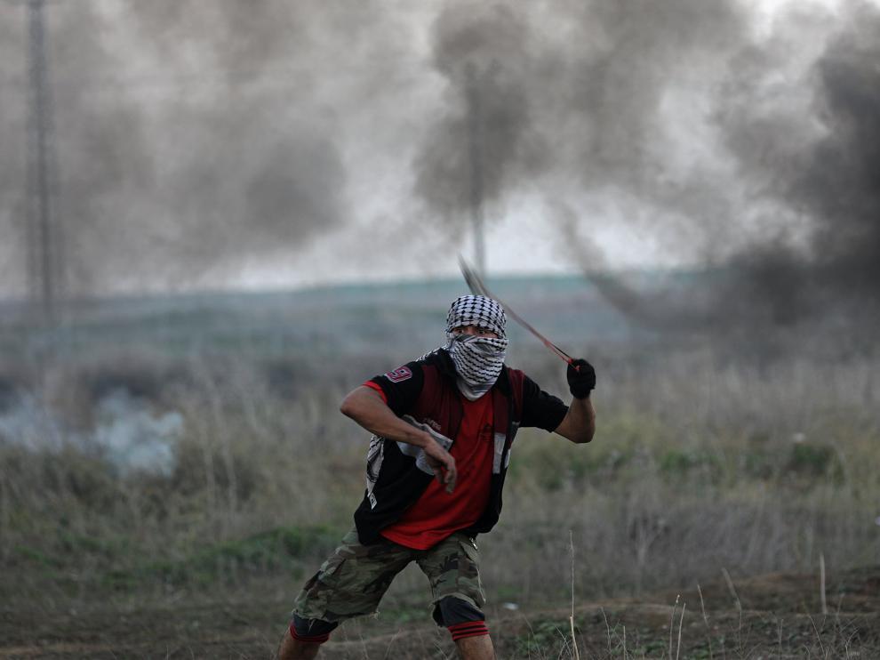 Un palestino, durante las protestas de este último viernes del año.