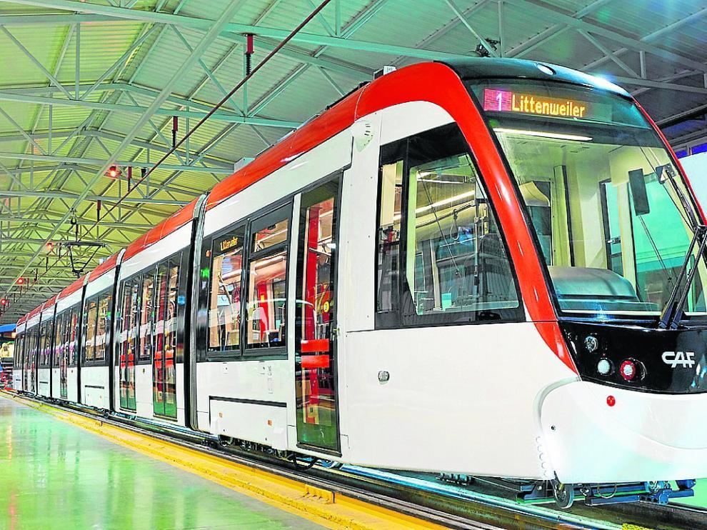 Tranvía para la ciudad alemana de Friburgo, fabricado el pasado año en la planta zaragozana de CAF.