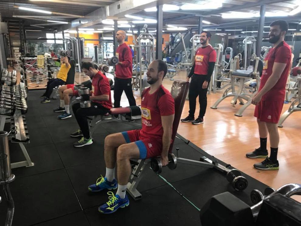 El brasileño Teixeira este lunes en el gimnasio.