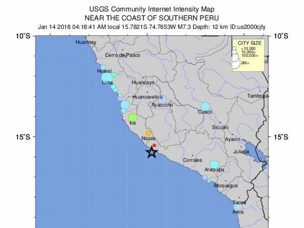 El seísmo ha ocurrido a las 10.18 (hora peninsular española) a unos 31 kilómetros al suroeste de Acari, según ha informado el Instituto de Estudios Geológicos de Estados Unidos.