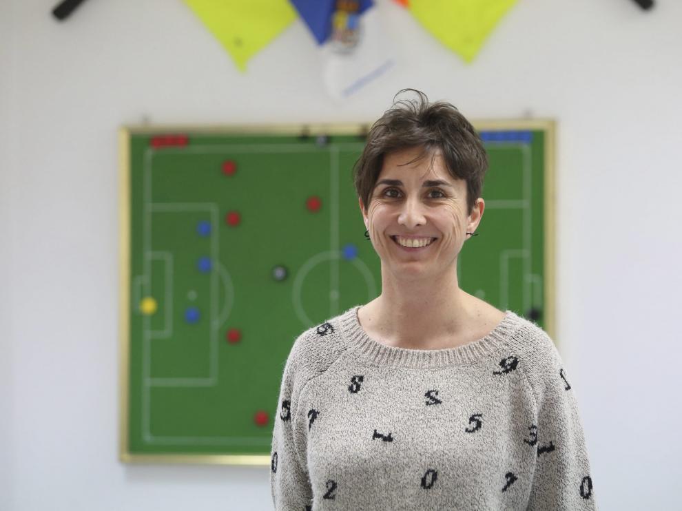 Marta Frías, en Huesca durante una charla reciente.