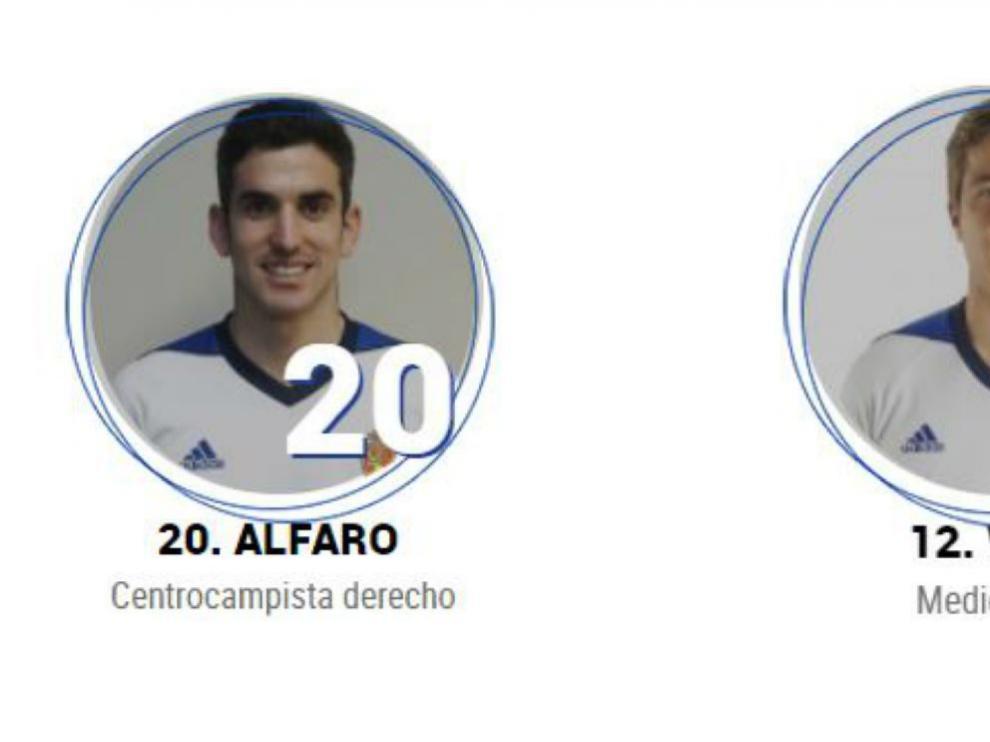 Las viñetas de Alfaro y Wilk en la pestaña de la plantilla en la web del Real Zaragoza.