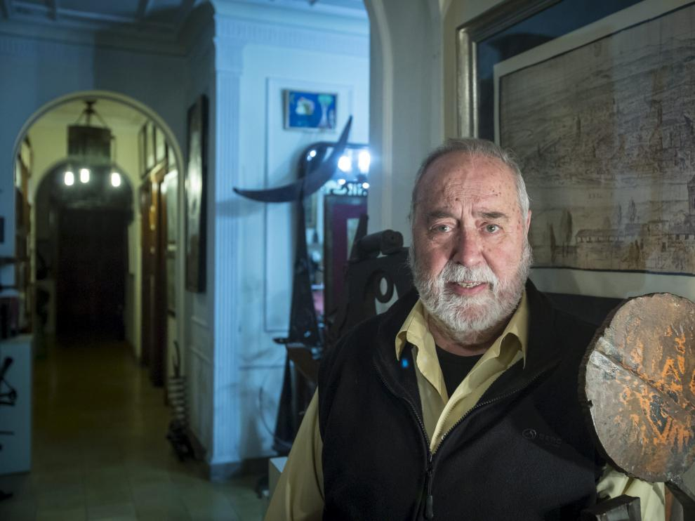 Emilio Gastón, en su casa, en 2015.