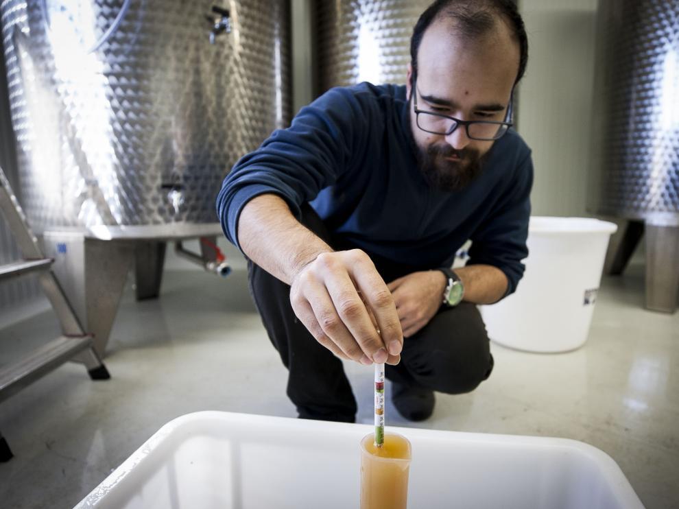 Arvidas Castillo ejecuta un control de calidad a una muestra de hidromiel en las instalaciones de Rasmia en Lechón.
