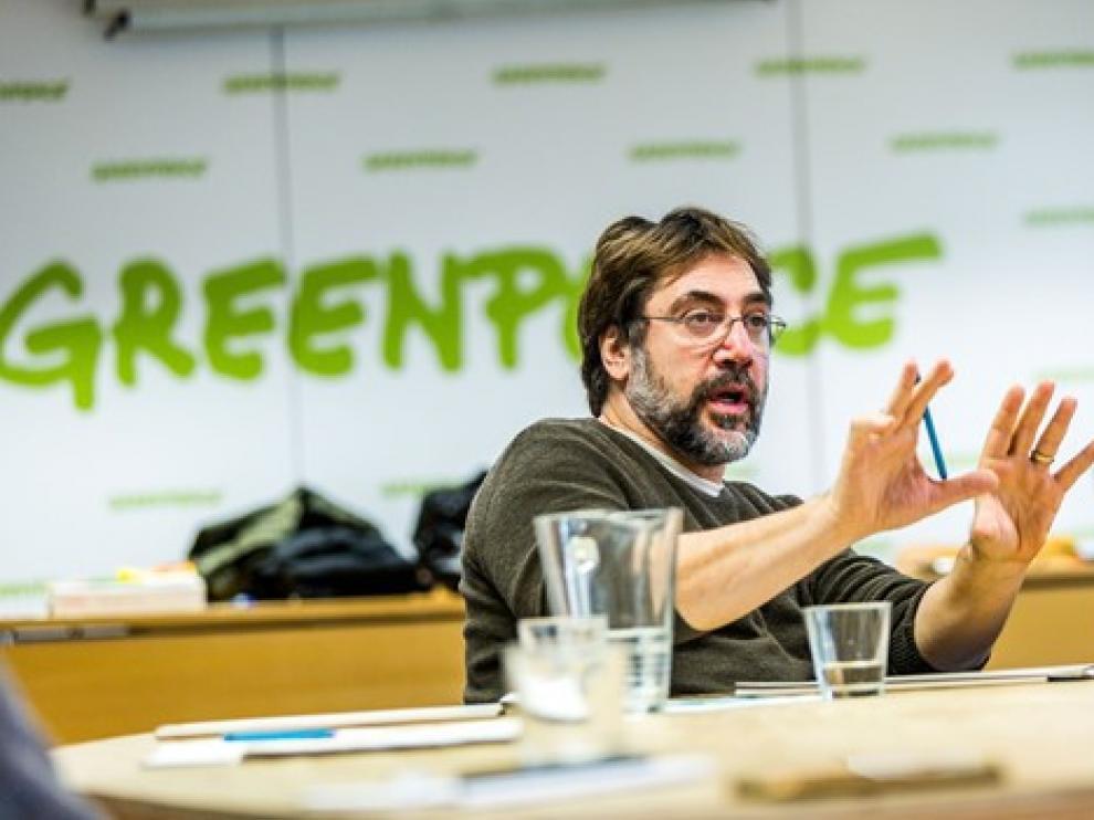 Javier Bardem, en una sede de Greenpeace.