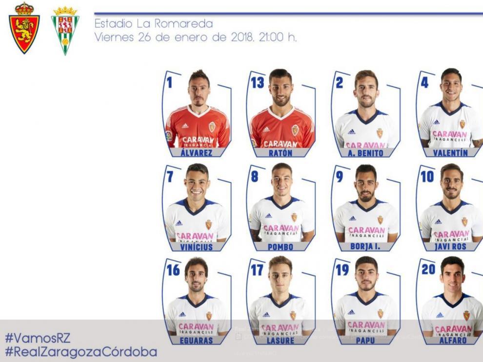 Lista de 18 convocados por Natxo González para el partido Real Zaragoza-Córdoba.