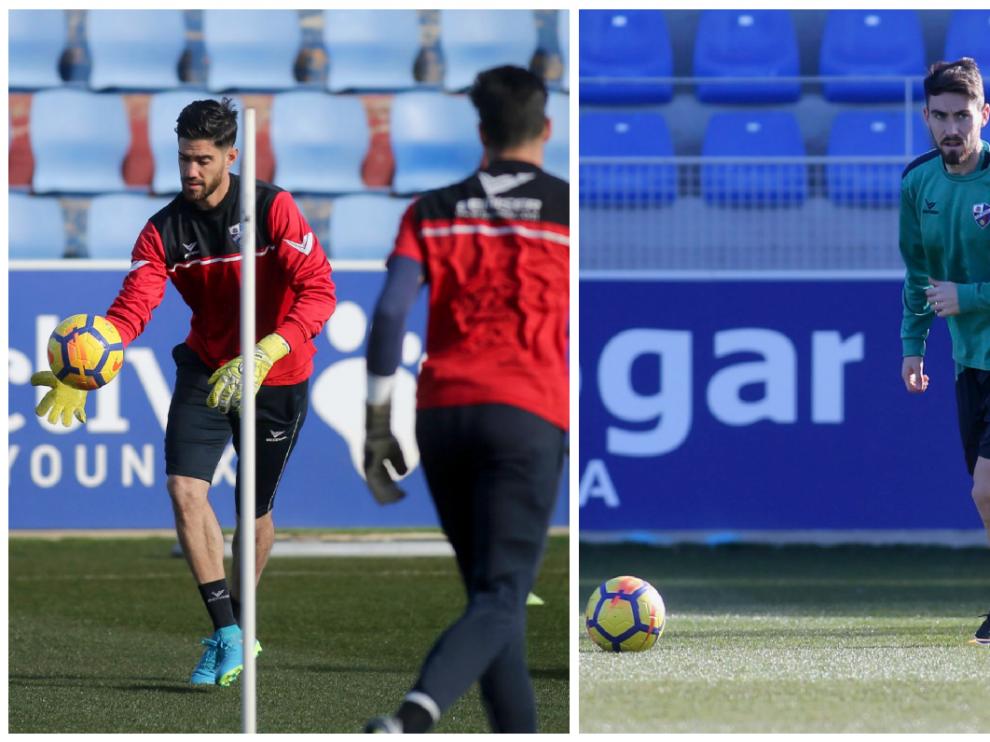 De rojo, Roberto Santamaría, de verde (derecha) el centrocampista Moi Gómez.