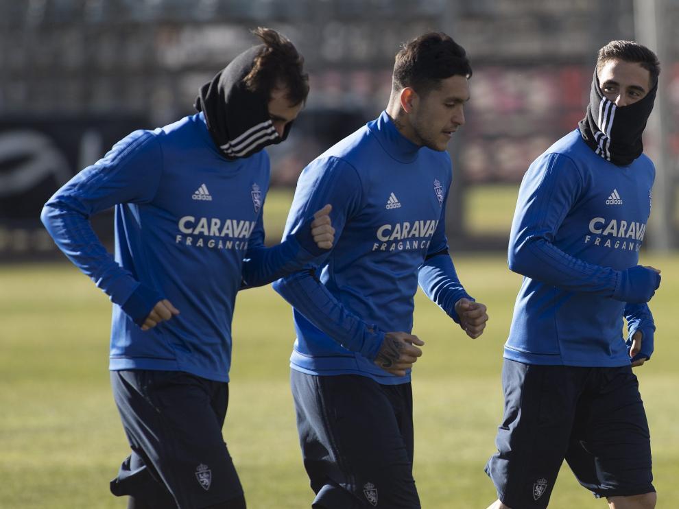 Jesús Valentín, en un entrenamiento del Real Zaragoza.