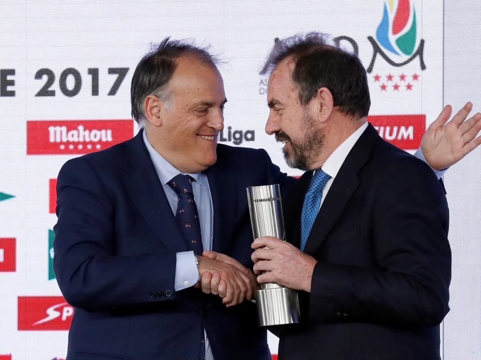Javier Tebas con el presidente del Getafe