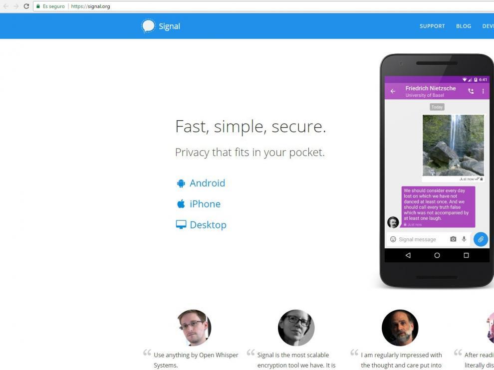 Un 'pantallazo' de la web de Signal.