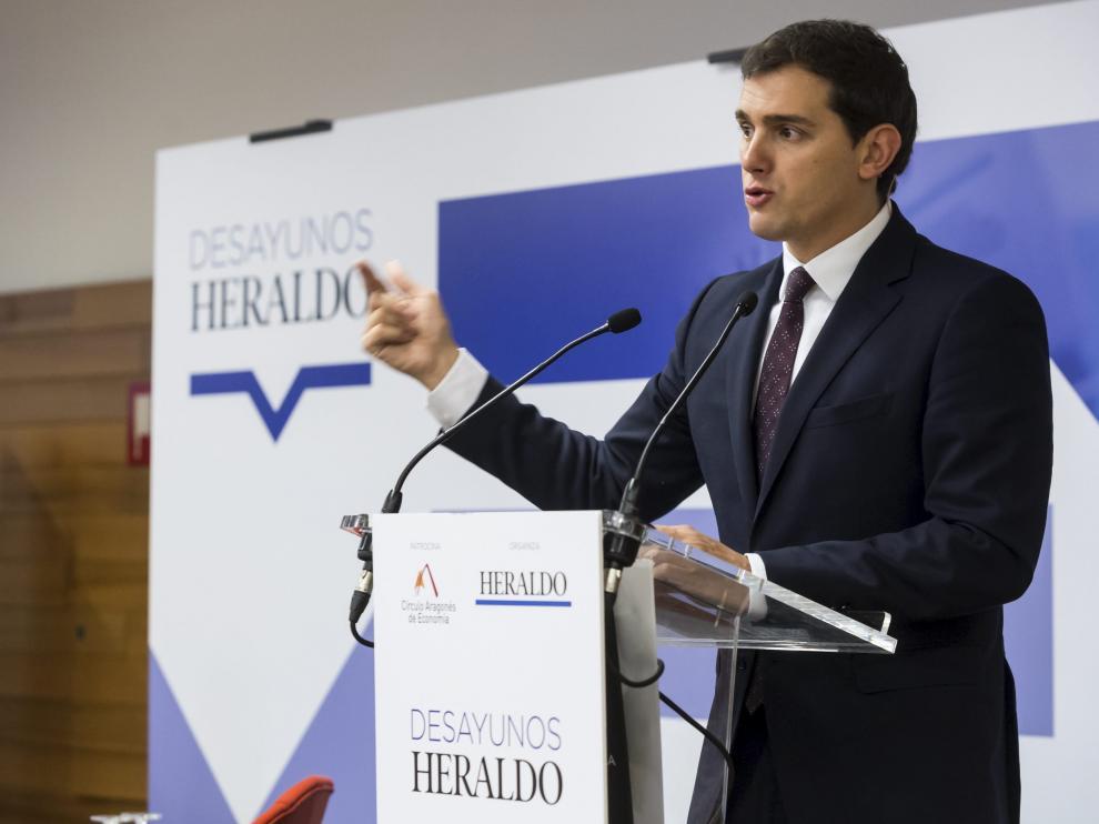 Albert Rivera, durante su reciente intervención en un desayuno informativo organizado por HERALDO y el Círculo de Economía.