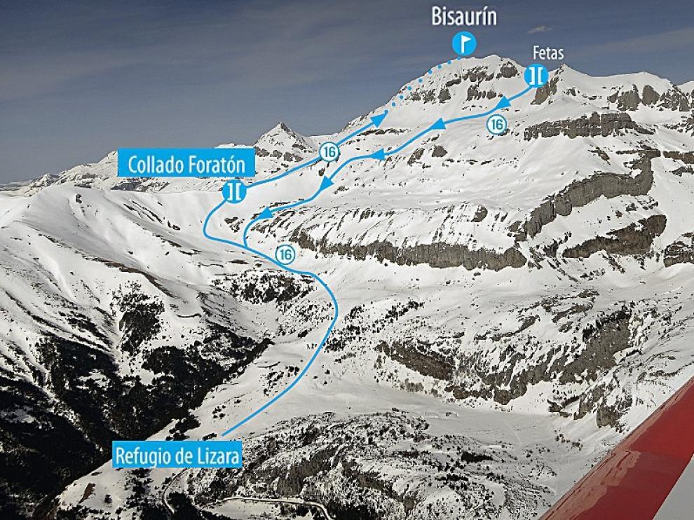 Vista aérea del Bisaurín y la ruta de ascenso y descenso.