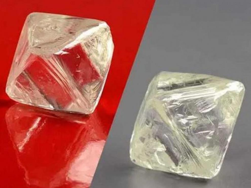 Imagen de los diamantes hallados en el pozo 'Yubiléinaya'.