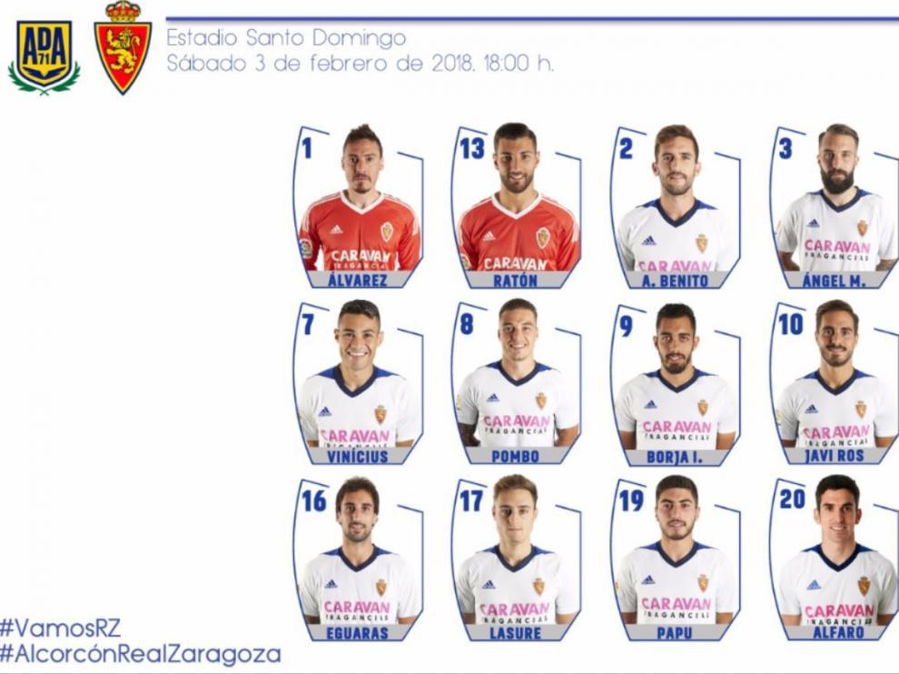 Lista de convocados del Real Zaragoza para el partido de este sábado en Alcorcón.