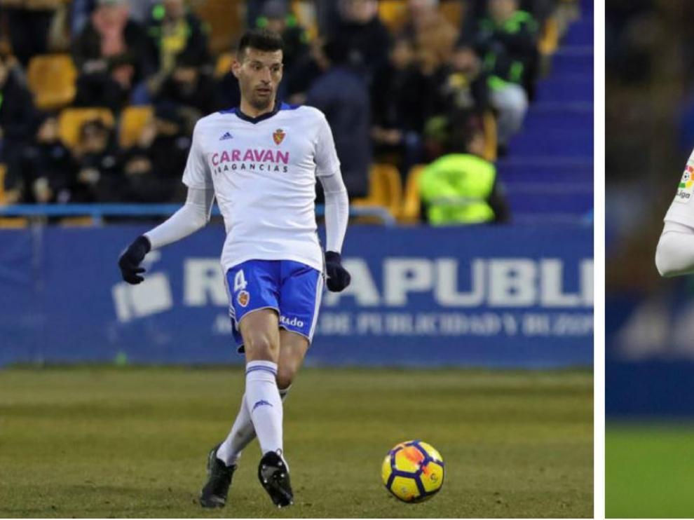 Perone (izda.) y Alfaro (dcha.), en sus primeros minutos como jugadores del Real Zaragoza tras llegar como refuerzos de invierno.