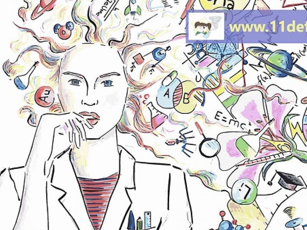 Cartel del Día Internacional de la Niña y la Mujer en la Ciencia.